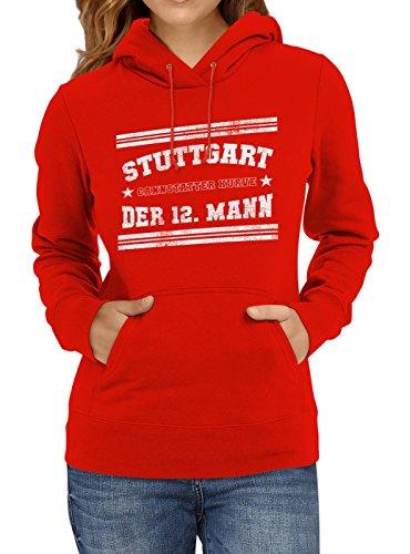 Stuttgart #1 Premium Hoodie | Fussball | Fan-Trikot | #Jeden-Verdammten-Samstag | Frauen | Kapuzenpullover, Farbe:Rot;Größe:S (Spieltag Shirt)
