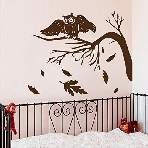 Herbst Baum Blätter Fallen Wandtattoos Eulen Nacht Vogel Wohnzimmer Babys Dekoration Home Vinyl Wandaufkleber Kunst 51 Cm x 43 Cm