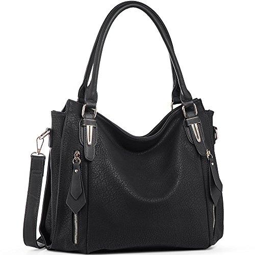 JOYSON Handtaschen Damen PU Leder Umhängetaschen Schultertaschen Taschen Hobo Henkeltaschen für Frauen Schwarz (L:38*W:13*H:31cm)