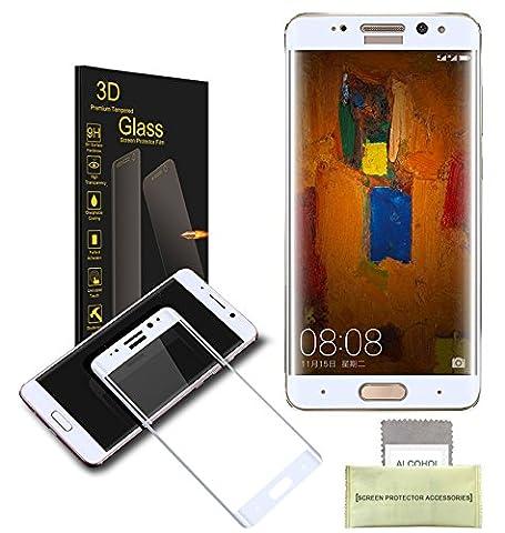 AKPATI Huawei Mate 9 Pro Protection d'écran 3D Prime Protecteur d'Ecran en Verre Trempé Protecteur d'écran Protection Anti-rayure Anti-traces -Blanc
