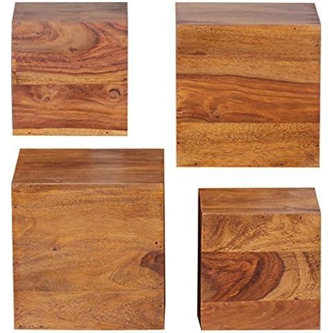 Wohnling wl1,531 Scaffale da parete in legno di sheesham, Set di 4 pezzi da 25 e 20 cm
