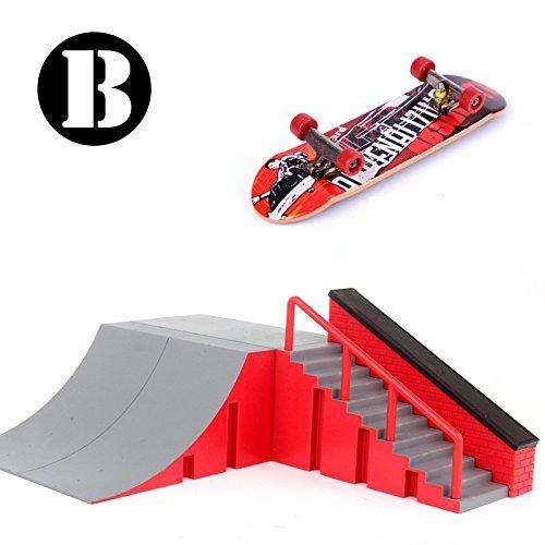 Skatepark Rampen, Mini Griffbrett Skate Park Kit für Tech Deck Platine DIY Finger Skate Boarding Ultimate Sport Training Requisiten Spielzeug Weihnachtsgeschenk für Kinder (B) (Rampe Mini)
