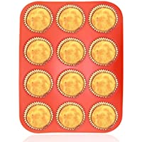 Philonext Silicone Muffin Pan,12-Cup Muffin Trays Red Silicone Cupcake Baking Pans / Non stick / Dishwasher - Microwave Safe