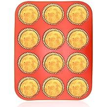 Philonext Molde De Silicona Para Magdalenas Muffins, Molde De Silicona Rojo Para Pasteles, Antiadherente, Apto Para Lavavajillas Y Microondas