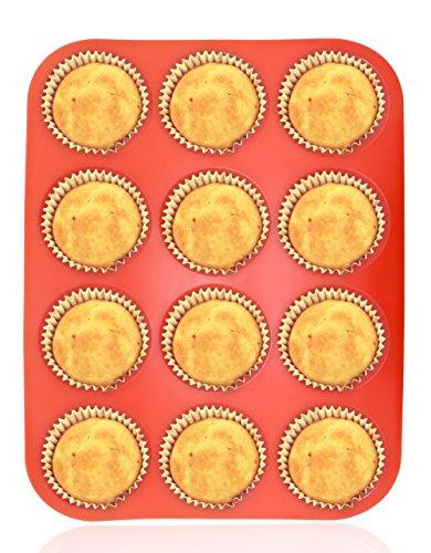 Philonext Teglia in silicone per muffin, Vassoio rosso antiaderente per 12 muffin, Stampo pirottini in silicone rosso per forno e microonde, lavabile in lavastoviglie.