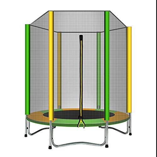 YGUOZ Trampolin für Kinder, Indoor Outdoor Trampolin Set mit Sicherheitsnetz, Sprungmatte, Hochfeste Federn und Abdeckung, Garten Jumper Trampolin,Yellow Green_59in/1.5m