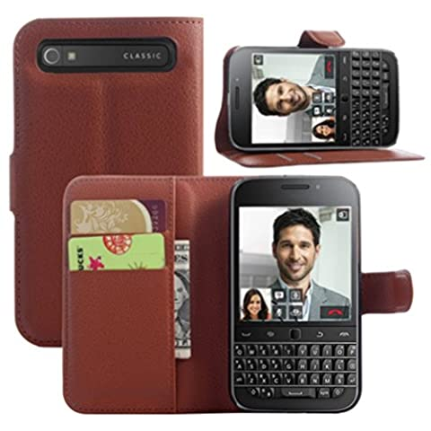 Coque BlackBerry Classic, HualuBro [Tout Autour Protection] Premium Étui en Cuir PU Portefeuille Housse Case Flip Cover avec Cartes Slots pour BlackBerry Classic Smartphone (Marron)