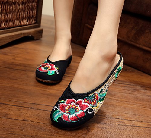 Ethnischer Mode Flip Gestickte Schuhe Black Weiblicher Flop Stil Bequem Sandalen Sehnensohle Feine amp;hua xqITUwC1w