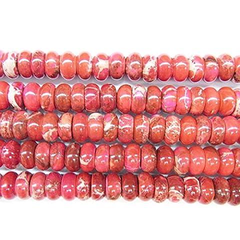 thetastejewelry 8x 10mm Rondelle Meeressediment flach rot Jasper Perlen 38,1cm 38cm Halskette Heilung Schmuck herstellen