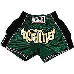 Lumpinee pantalones cortos retro originales de Muay Thai para lucha de Kick Boxing LUMRTO-010 - Verde -