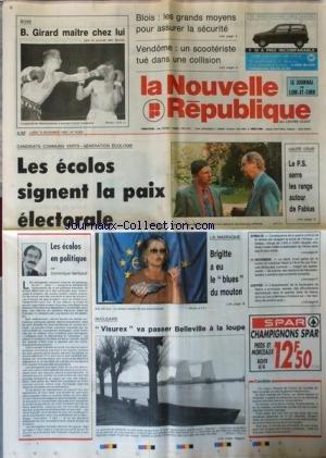 NOUVELLE REPUBLIQUE (LA) [No 14623] du 16/11/1992 - BOXE / B. GIRARD MAITRE CHEZ LUI - LES ECOLOS SIGNENT LA PAIX ELECTORALE - LES ECOLES EN POLITIQUE PAR GERBAUD - LA MADRAGUE / BRIGITTE BARDOT A EU LE BLUES DU MOUTON - HAUTE COUR / LE PS SERRE LES RANGS AUTOUR DE FABIUS - SOMALIE / CONSEQUENCE DE LA GUERRE CIVILE ET DE LA FAMINE