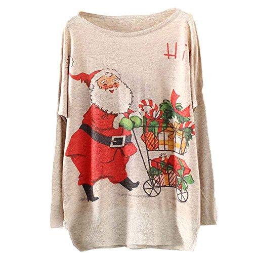 Pull Femme Chandail Ronamick Renne Noël Manches Longues Tricoté Lâche col Rond Chic Décontractée Sweater Sweatshirt pas cher a la mode(FREE SIZE, Beige)