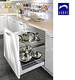 Nomet Gestell für Küchen-Unterschränke zum Herausziehen, schließt ganz sanft, einfache Befestigung, für Schränke mit 200 mm Breite, metall, Verchromt, 300 mm