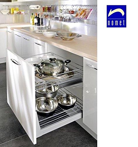Nomet Gestell für Küchen-Unterschränke zum Herausziehen, schließt ganz sanft, einfache Befestigung, für Schränke mit 200 mm Breite, metall, chrome, 400 mm