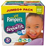 174 Couches Pampers Active Fit Taille 5 + Junior Plus (13-27-kg)