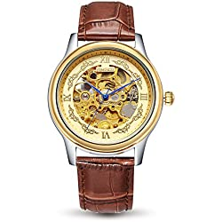 Time100 New Men's Classic BusinessTwo-Tone Mechanical Skeleton Design Automatic Self-wind Genuine Cowhide Leather Band Steel Watch Mechanical Watch #W60015G.02A