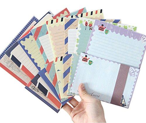 Funcoo Niedliches Briefpapier, 32 Blatt, mit 16Umschlägen + 1Bogen Siegel-Aufkleber Style-1