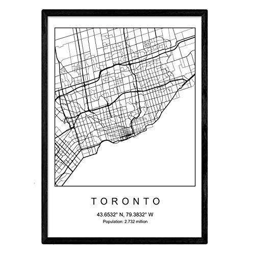 Nacnic Toronto Film Stadtplan nordischen Stil schwarz und weiß. A3 Größe Plakatrahmen Das Bedruckte Papier Keine 250 gr. Gemälde, Drucke und Poster für Wohnzimmer und Schlafzimmer