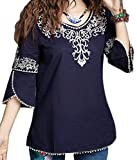 #4: Triumphin Blue Women Tunic Short Kurti For Jeans Embroidered Cotton Top For Daily wear Stylish Casual and Western Wear Women / Girls Top