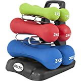 GORILLA SPORTS Kurzhantel-Set Neopren 12 kg für Gymnastik, Aerobic, Pilates, Fitness – 6er-Satz aus 3 Gewichtspaaren inkl. Hantelbaum