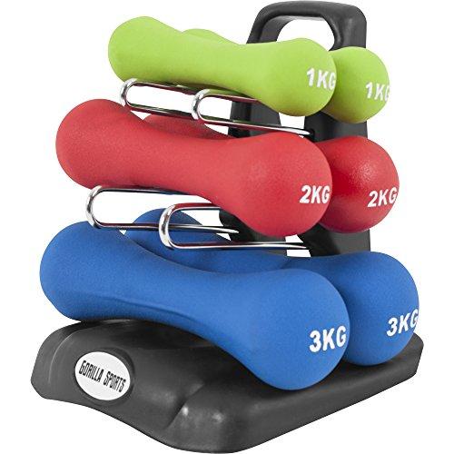 GORILLA SPORTS® Kurzhantel-Set Neopren 12 kg für Gymnastik, Aerobic, Pilates, Fitness – 6er-Satz aus 3 Gewichtspaaren inkl. Hantelbaum