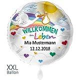 Premioloon | Luftballon mit Personalisierung - Willkommen im Leben - Geschenk zur Geburt - Folienballon mit Name - Helium geeignet - Ø 71cm