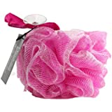 Esponja exfoliante de malla de nylon para el cuerpo/ Puff de baño/ color rosa- Baño y ducha