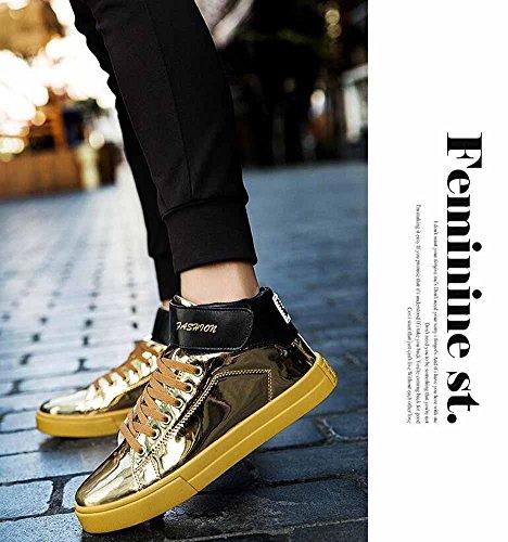 Uomini Scarpe Da Ginnastica Traspirante Autunno Inverno Top Pattini Skateboard Superiori Scarpe Piatte Lucide In Pelle Verniciata A Pois Grandi Gold