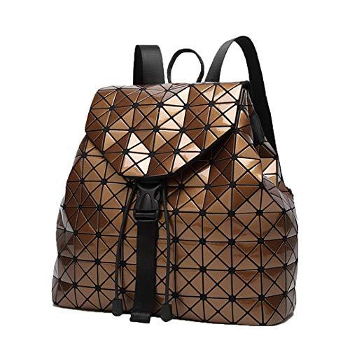 Frauen Rucksack Leuchtende Geometrische Plaid Pailletten Weibliche Rucksäcke Für Kordelzug Holographische Rucksack Coffee - Braun Large Rolling Luggage