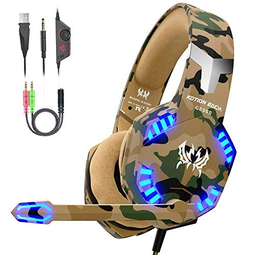 VersionTECH. Auriculares Gaming Cascos PS4 con Microfono,  Diadema Ajustable,  Bass OverEar 3, 5mm Jack,  Luz LED,  Control de Volumen,  Bajo Ruido para PS4/Xbox One/Nintendo Switch/PC/Móvil (Camuflaje)