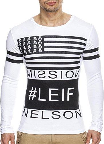 LEIF NELSON Herren Pullover Longsleeve Sweatpullover Sweat Weiß