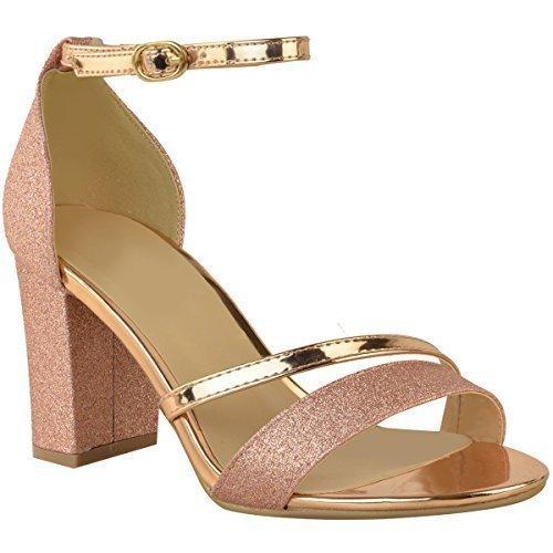 Donna luccicante strass tacco basso medio sandali sposa matrimonio ballo festa per ragazze - rosa dorato glitter metallico, 40