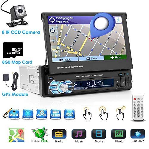 Podofo Autoradio Stéréo 1 DIN 7 Pouces HD Écran Tactile Lecteur de Radio GPS Navigation Bluetooth avec 8G Carte Européenne Support Mp5, MP4, USB, SD, AUX, FM, iPod, iPhone, Inclus Caméra de Recul