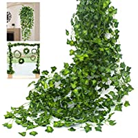 Amkun Artificial Hanging Plants Fake Vines Silk Ivy Leaves Greenery Garland for Wedding Kitchen Wall Outdoor Party Festival Decor Pack of 12 (Green)