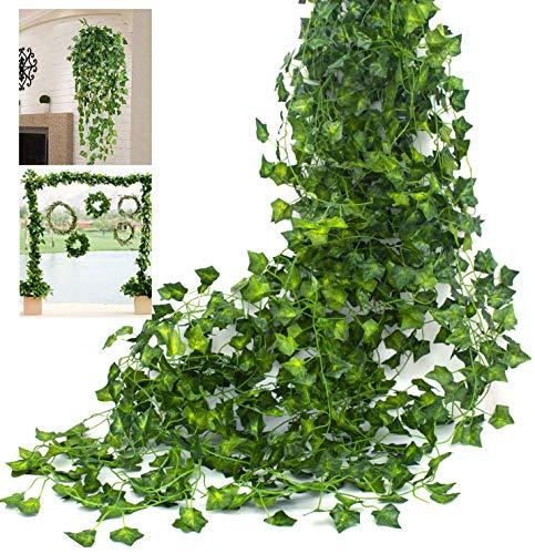 Amkun künstliche Hängepflanze, Seiden-Efeublätter, grüne Girlande für Hochzeit, Küche, Wand, Außenbereiche, Party, Feste, Dekoration, 12Stück grün