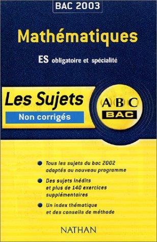 ABC Bac : Mathématiques, Bac ES
