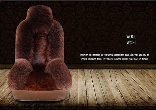 Inverno Pura Lana Car Seat Cushion, sede di copertura auto pelliccia in pelle imbottito, adatto alla maggior parte cinque posti auto (Color : 007)