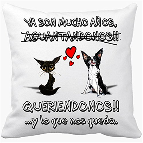 Cojín con relleno San Valentín perros gatos animales frase de amor - Blanco, 35 x 35 cm