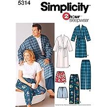 Simplicity 5314 AA - Patrones de costura para pijamas y batas (tallas grandes)