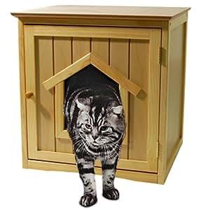 KITTY - Niche abri pour chat avec litiere - en pin