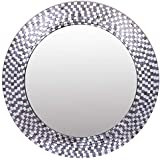 Meher Creation Grey & Silver Color Glass Chip Mozaiek Round Shape Wall Mirror/Makeup Mirror/Decorative Wall Mirror (Size :- 23 X 23 X .5 Inches)