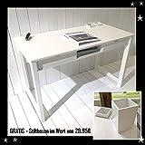Kinder Schreibtisch DANNENFELSER Holz Kinderschreibtisch für Teens Young Desk weiß Massivholz MDF 120x60cm 2 Schubladen 1 Fach + GRATIS 2x Stiftboxen