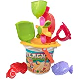 IndusBay Beach Bucket Set Cum Gardening Toy Set With Shapes Toys And Water Wheel For Kids