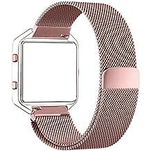 Fitbit Blaze Band (6.7 a 8.1 pulgadas), PUGO TOP® Milanese bucle de la correa de acero inoxidable para Fitbit Blaze elegante reloj de la aptitud, Banda de reemplazo Fitbit Blaze con único imán de bloqueo (oro rosa)