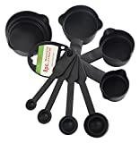 #4: Bulfyss 8Pcs Plastic Measuring Cup and Spoon Set, Black