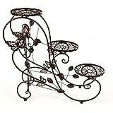 HLC Bastidor metálico de bonsáis, decoraciones caseras, esculturas - 73 cm con 3 bandejas, Color Cobrizo, Diseño de Mariposa, Estilo Retro
