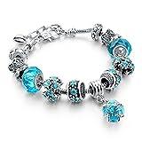 Braccialetto intagliato  perline blu lungo braccialetto a filo elegante per catene serpente per uomo e donna., placcato argento, colore: Blue, cod. SBR150292BU