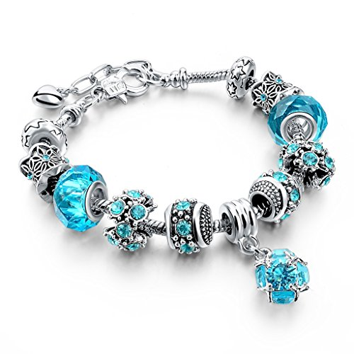 Long Way Blue Beads Carved Bracelet Sliver Plated Snake Chain Charm Strand Bracelet For Women&Men (Blue)