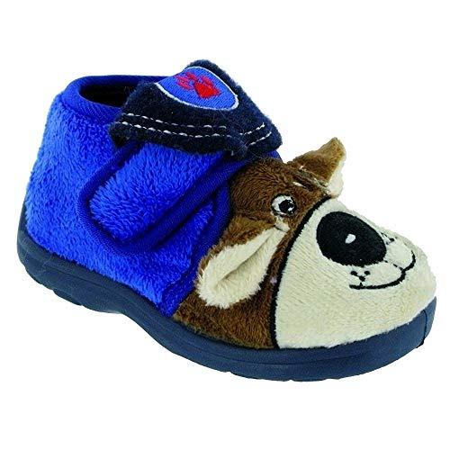 Mirak Jungen Tier Hausschuhe mit Klettverschluss (30 EUR) (Blau) (Stricken Blau Pyjama)