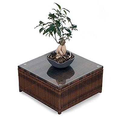 XINRO (1er) Polyrattan Lounge Tisch - Gartenmöbel Hocker Rattan - durch andere Polyrattan Lounge Gartenmöbel Elemente erweiterbar - In/Outdoor - handgeflochten